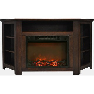 Cambridge CAM5630-1WAL Stratford 56 In. Electric Corner Fireplace in Walnut with 1500W Fireplace Insert