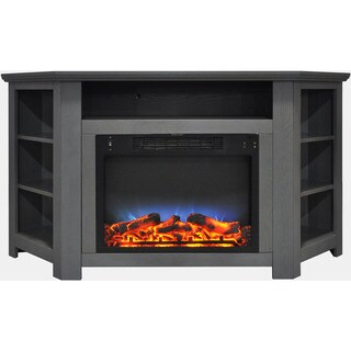 Cambridge CAM5630-1GRYLED Stratford 56 In. Electric Corner Fireplace in Gray with LED Multi-Color Display