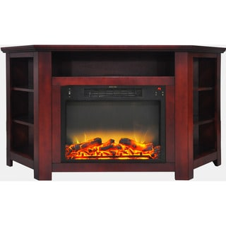 Cambridge CAM5630-1CHRLG2 Stratford 56 In. Electric Corner Fireplace in Cherry with Enhanced Fireplace Display