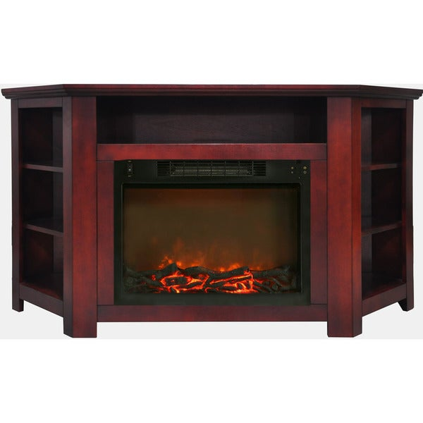 Cambridge CAM5630-1CHR Stratford 56 In. Electric Corner Fireplace in Cherry with 1500W Fireplace Insert