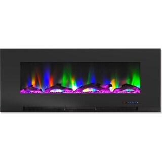 Cambridge CAM50WMEF-2BLK 50 In. Wall-Mount Electric Fireplace in Black with Multi-Color Flames and Driftwood Log Display