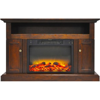 Cambridge CAM5021-2WALLG2 Sorrento Electric Fireplace with an Enhanced Log Display and 47 In. Entertainment Stand in Walnut