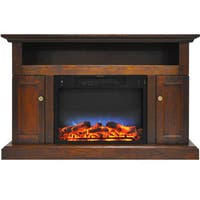 Cambridge CAM5021-2WALLED Sorrento Electric Fireplace with Multi-Color LED Insert and 47 In. Entertainment Stand in Walnut