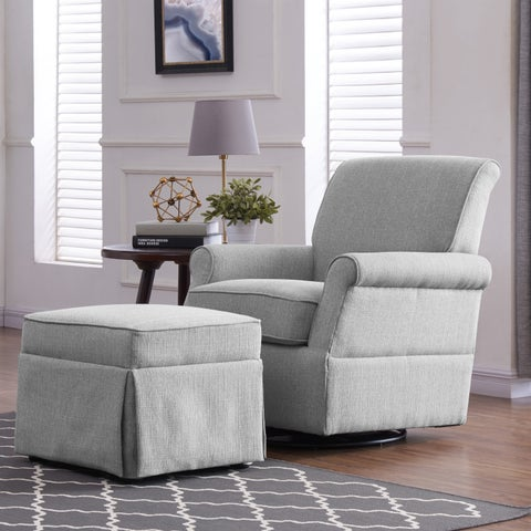 Handy Living Dove Grey Linen Wood Frame Swivel Glider Arm Chair and Ottoman