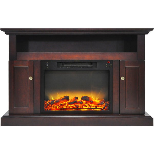 Cambridge CAM5021-2MAHLG2 Sorrento Electric Fireplace with an Enhanced Log Display and 47 In. Entertainment Stand in Mahogany
