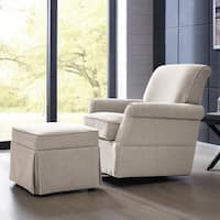 Handy Living Oatmeal Linen Swivel Glider Arm Chair & Ottoman