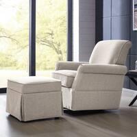 Handy Living Oatmeal Linen Swivel Glider Arm Chair & Ottoman
