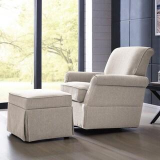 Captivating Handy Living Oatmeal Linen Swivel Glider Arm Chair U0026 Ottoman