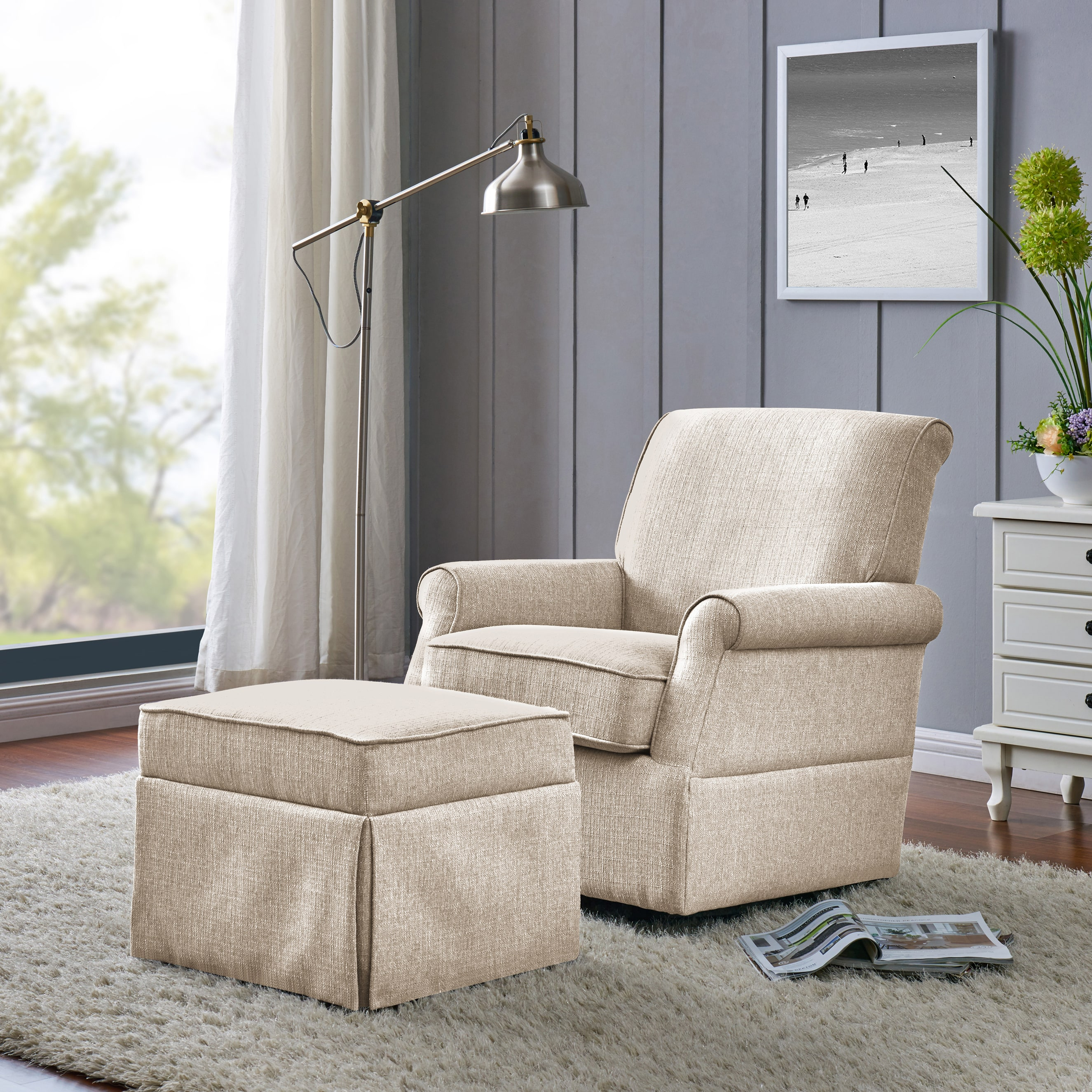 Handy Living Taupe Grey Linen Swivel Glider Square Back Armchair And Ottoman