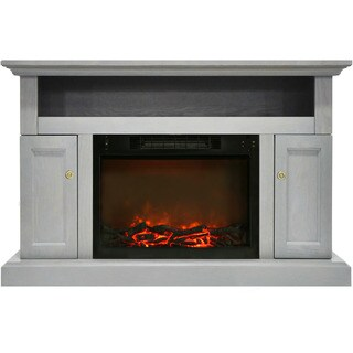 Cambridge CAM5021-2GRY Sorrento Electric Fireplace with 1500-watt Log Insert and 47-inch Grey Entertainment Stand