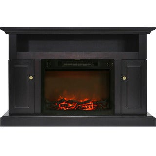 Cambridge CAM5021-2COF Sorrento Black Coffee Electric Fireplace with 1500W Log Insert and 47-inch Entertainment Stand