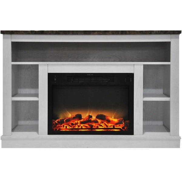Cambridge 47 In. Electric Fireplace with Enhanced Log Insert and White Mantel