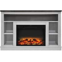 Cambridge CAM5021-1WHTLG2 47 In. Electric Fireplace with Enhanced Log Insert and White Mantel