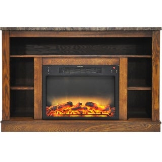 Cambridge 47 In. Electric Fireplace with Enhanced Log Insert and Walnut Mantel