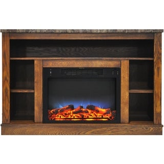 Cambridge 47 In. Electric Fireplace with a Multi-Color LED Insert and Walnut Mantel