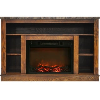 Cambridge 47 In. Electric Fireplace with 1500W Charred Log Insert and A/V Storage Mantel in Walnut