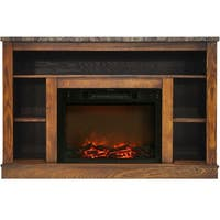 Cambridge CAM5021-1WAL 47 In. Electric Fireplace with 1500W Charred Log Insert and A/V Storage Mantel in Walnut