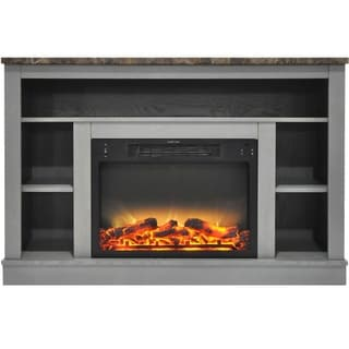 Cambridge CAM5021-1GRYLG2 47 In. Electric Fireplace with Enhanced Log Insert and Gray Mantel