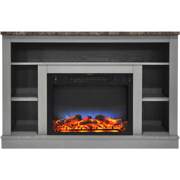 Cambridge 47-inch Electric Fireplace with Multicolor LED Insert and Grey Mantel