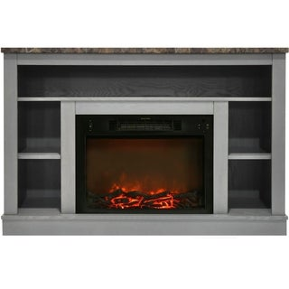 Cambridge CAM5021-1GRY 47 In. Electric Fireplace with 1500W Charred Log Insert and A/V Storage Mantel in Gray