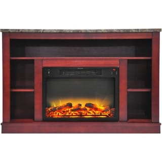 Cambridge 47 In. Electric Fireplace with Enhanced Log Insert and Cherry Mantel
