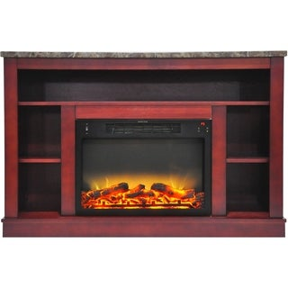 Cambridge CAM5021-1CHRLG2 47 In. Electric Fireplace with Enhanced Log Insert and Cherry Mantel