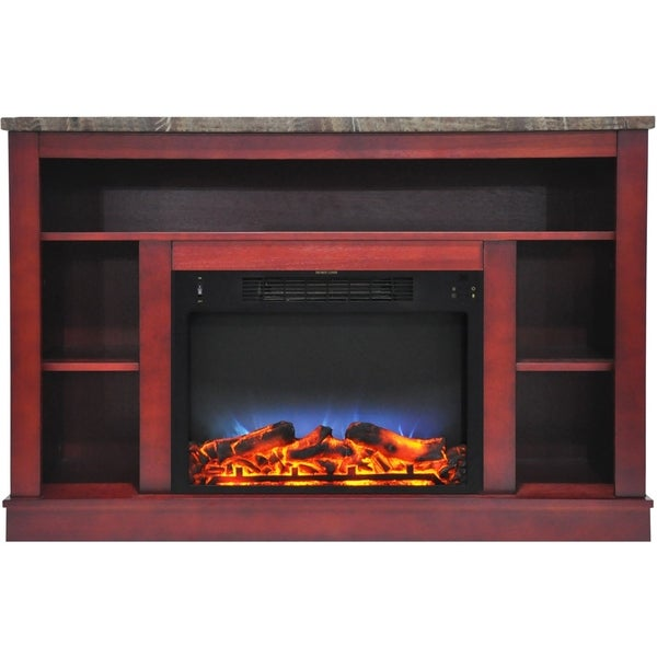 Cambridge 47 In. Electric Fireplace with a Multi-Color LED Insert and Cherry Mantel