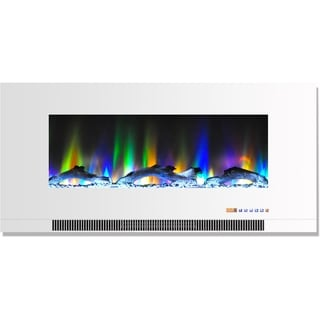 Cambridge CAM42WMEF-2WHT 42 In. Wall-Mount Electric Fireplace in White with Multi-Color Flames and Driftwood Log Display