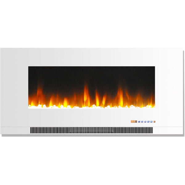 Shop Cambridge 42 In Wall Mount Electric Fireplace In White With