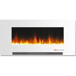 Cambridge CAM42WMEF-1WHT 42 In. Wall-Mount Electric Fireplace in White with Multi-Color Flames and Crystal Rock Display