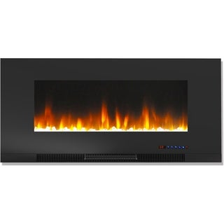 Cambridge CAM42WMEF-1BLK 42 In. Wall-Mount Electric Fireplace in Black with Multi-Color Flames and Crystal Rock Display
