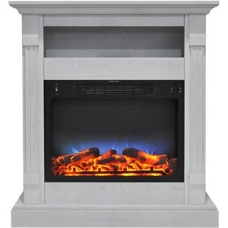 Cambridge CAM3437-1WHTLED Sienna 34 In. Electric Fireplace w/ Multi-Color LED Insert and White Mantel