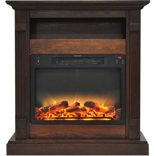 Link to Cambridge CAM3437-1WALLG2 Sienna 34 In. Electric Fireplace w/ Enhanced Log Display and Walnut Mantel Similar Items in Table Lamps