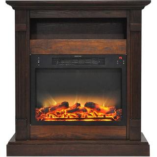 Cambridge CAM3437-1WALLG2 Sienna 34 In. Electric Fireplace w/ Enhanced Log Display and Walnut Mantel