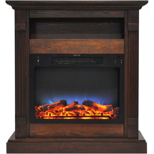 Cambridge CAM3437-1WALLED Sienna 34 In. Electric Fireplace w/ Multi-Color LED Insert and Walnut Mantel