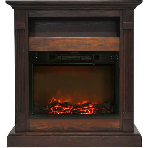 Cambridge CAM3437-1WAL Sienna 34 In. Electric Fireplace w/ 1500W Log Insert and Walnut Mantel