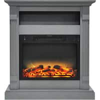 Cambridge CAM3437-1GRYLG2 Sienna 34 In. Electric Fireplace w/ Enhanced Log Display and Gray Mantel