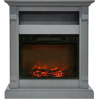 Cambridge CAM3437-1GRY Sienna 34 In. Electric Fireplace w/ 1500W Log Insert and Gray Mantel