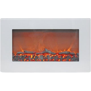 Link to Cambridge CAM30WMEF-2WHT Callisto 30 In. Wall-Mount Electric Fireplace with White Flat-Panel and Realistic Log Display Similar Items in Glasses & Barware