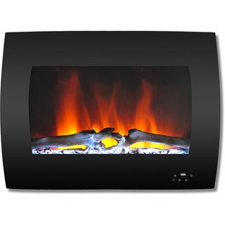 Cambridge CAM26WMEF-2BLK 26 In. Curved Wall-Mount Electric Fireplace in Black with Multi-Color Flames and Log Display