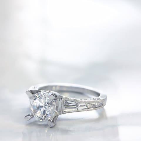Lihara and Co. 18k White Gold 1/2 ct TDW Semi-Mount Engagement Ring (G-H, VS1-VS2) - White G-H