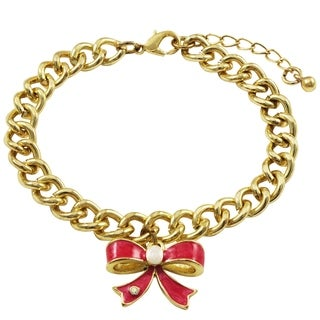 Luxiro Gold Finish Marble Enamel Bow Children's Charm Bracelet (2 options available)