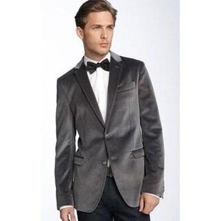 2-Button Style & Double Vents on Back - Men's In Gray Velvet Blazer