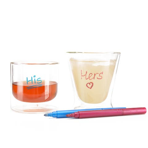 Epare Wine Glass Markers - 7 pack Erasable Metallic Ink Pen