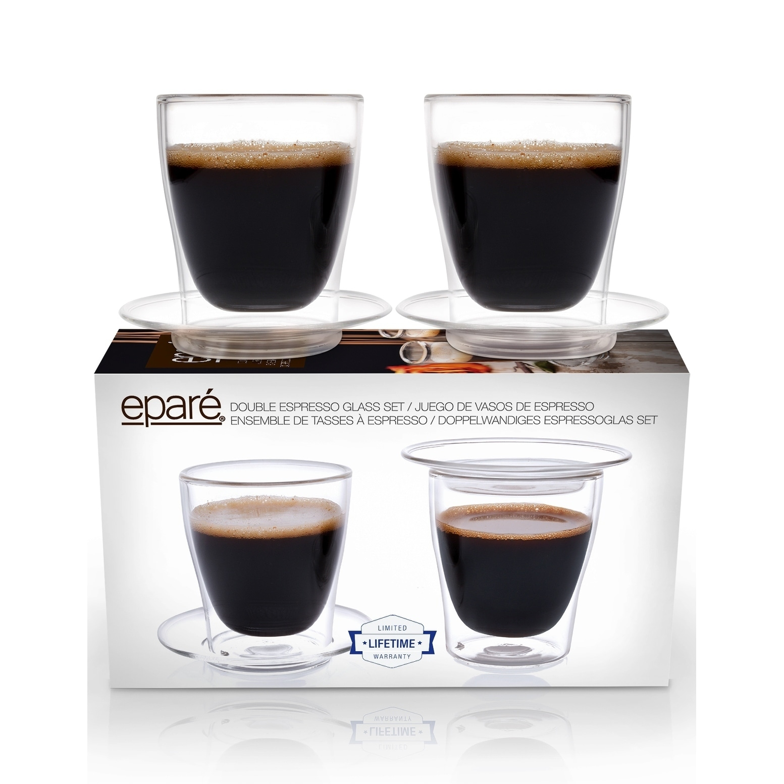 Eparé Espresso Cups, Insulated Glass Demitasse Lid & Sauc...
