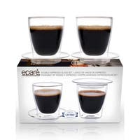 Epare Espresso Cups, Insulated Glass Demitasse Lid & Saucer (Set of 2)