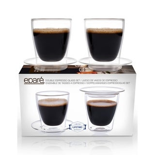 Eparé Espresso Cups, Insulated Glass Demitasse Lid & Saucer (Set of 2)