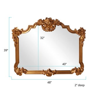 Allan Andrews Avondale Bright Gold Leaf Resin Wall Mirror