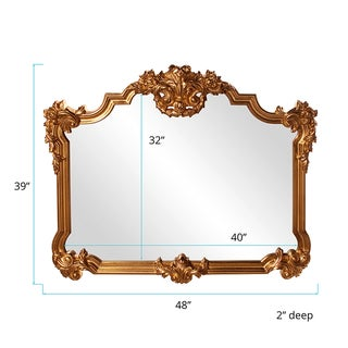 Howard Elliott Collection Allan Andrews Avondale Bright Gold Leaf Resin Wall Mirror