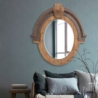 Howard Elliott Collection Allan Andrews Hudson Brown Wood Oval Mirror